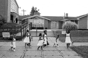 Young children walk and play after a wedding at Victory Fellowship Church in Detroit. Without youth, a city's future stifles, pastor Daryl Gaddy says. Victory Fellowship -- the youngest Southern Baptist church plant within Detroit's city limits -- works with a variety of other organizations providing job training and mentoring for neighborhood youth.  Joe Garrad/NAMB.