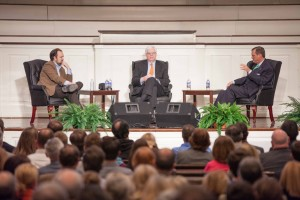 R. Albert Mohler Jr., (right) president of The Southern Baptist Theological Seminary, discusses religion in public life with The New York Times columnist Ross Douthat (left) and radio talk show host Dennis Prager during a Jan. 28 event in Southern Seminary's Alumni Memorial Chapel.
