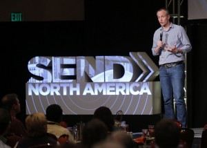 Aaron Coe, the North American Mission Board's (NAMB) vice president of mobilization and marketing, briefed pastors on the Send North America strategy at a March 31-April 1 gathering in Nashville. Coe shared detailed plans for NAMB's 2015 Send North America Conference. Photo by John Swain.