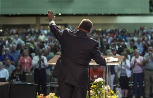 "Fred Luter, president of the Southern Baptist Convention, said his desire during the two years of his presidency has been revival for the SBC. ""The only way that will happen is if we cry out to God in prayer."" The theme of this year's SBC annual meeting held June 10-11 is ""Restoration and Revival through Prayer.""  Photo by Matt Miller."