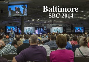 "More than 5,100 messengers attended the June 9-10 Southern Baptist Convention annual meeting at the Baltimore Convention Center presided over by SBC President Fred Luter, seen on the screen. This year's convention theme is ""Restoration and Revival Through Prayer.""  Photo by Van Payne."