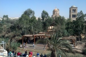 The Jordan River, the location of Jesus' baptism, is marked today by sites like this one where tourists can be baptized.  Photo by D. August Boto.