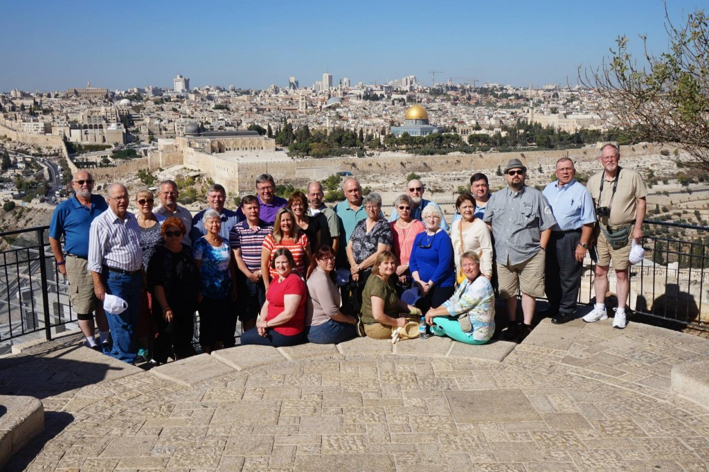 Tour participants on the Mount of Olives overlooking the old city of Jerusalem.