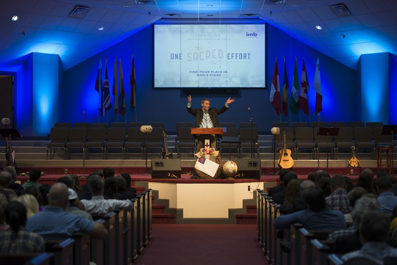 """God called you to send you,"" IMB President David Platt tells an overflow crowd at a missionary appointment service in Olive Branch, Miss., on Nov. 9. IMB Photo by Paul W. Lee IMB Photo by Paul W. Lee"