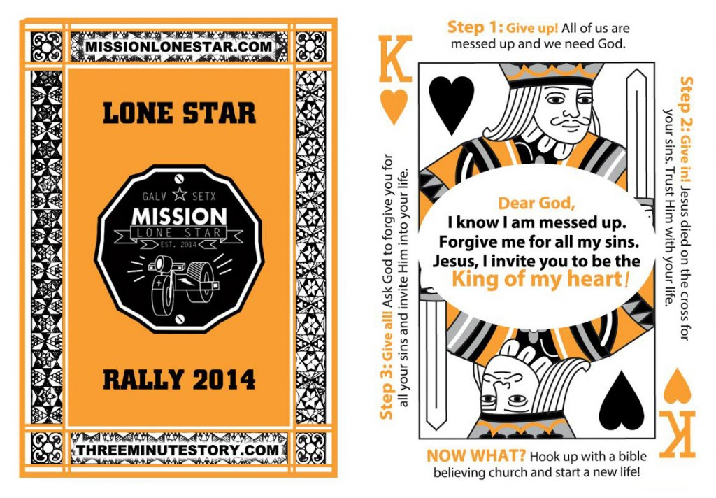 Two types of souvenirs bikers like are to be passed out at the Lone Star Rally Nov. 6-9. Orange and black -- Harley Davidson colors -- playing cards and poker chips remind recipients of what they heard from a Southern Baptist volunteer.
