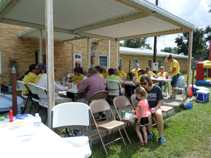 In partnership with other churches of the Centennial Baptist Association, Almyra First Baptist Church has participated in missions outreaches in Arkansas. Activities have included lawn care, home repair, door-to-door visitation and a block party, shown here.