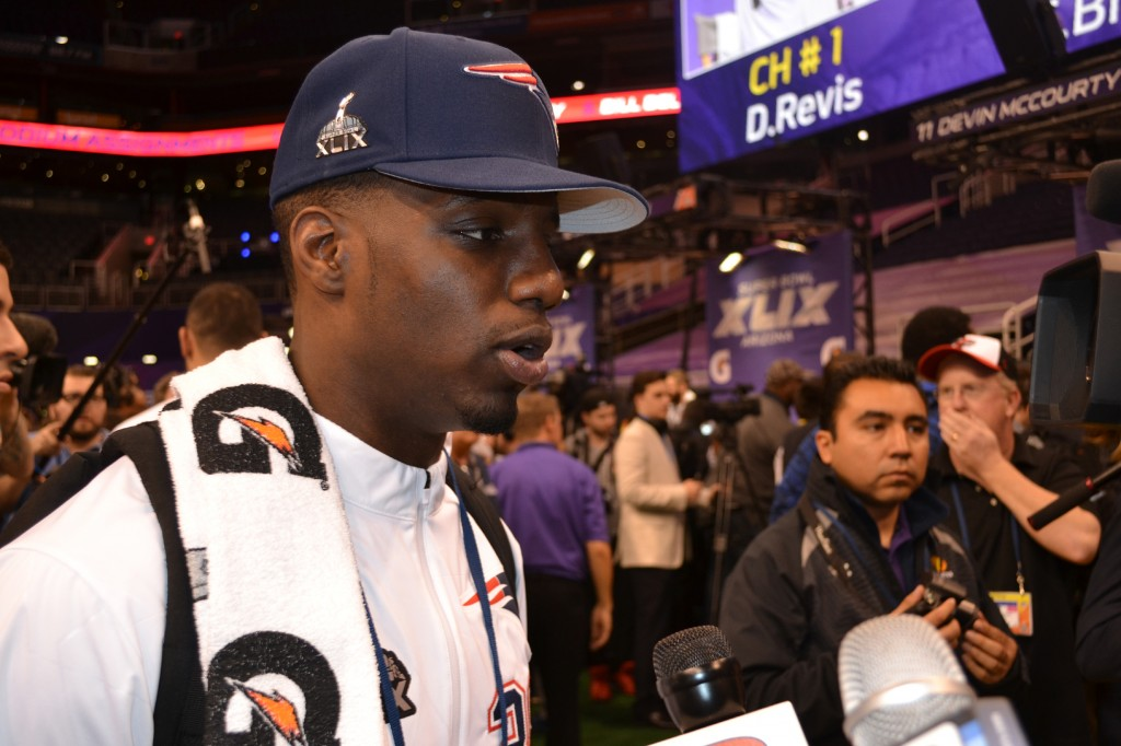 "Football is ""a game that God blesses us with to use ... for His glory and His work,"" said Duron Harmon, a defensive back for the New England Patriots. Harmon was one of several players who shared about their faith during Super Bowl Media Day (Jan. 27). Photo by Shawn Hendricks/BP"