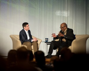 "John M. Perkins (right) is interviewed by Russell Moore on ""The Civil Rights Movement after 50 Years"" during the Ethics & Religious Liberty Commission's ""Gospel and Racial Reconciliation"" summit. Photo by Alli Rader"