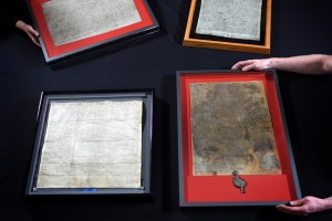 "The British Library brought together the four existing original Magna Carta manuscripts from King John's reign for the first time during a three-day ""unification event"" earlier this year. Photo by Clare Kendall for British Library"