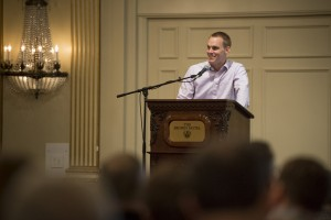 IMB President David Platt announces a policy to streamline guidelines for appointing new personnel within the framework of the Baptist Faith & Message. IMB trustees met May 12-13 in Louisville, Kentucky. (Photo by Paul W. Lee)