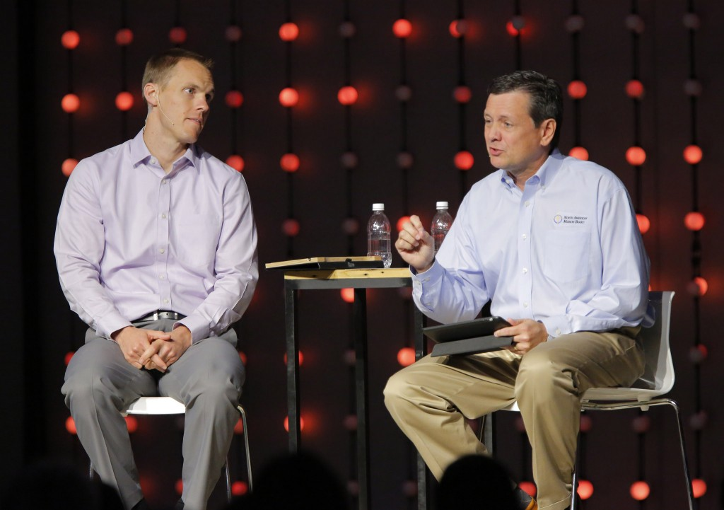 North America Mission Board President Kevin Ezell (right) and International Mission Board President David Platt shared their desire to explore continued cooperation between the entities where it makes sense to work together. Ezell highlighted the advance of the Send North America strategy and the progress made in the 32 Send North America cities. Platt outlined his limitless missionary teams concept and the changes to IMB policy to help speed qualified team members to the field.NAMB photo by John Swain