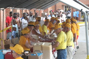 Hurricane Katrina evacuees were spread across the Gulf Coast. Here Southern Baptist Disaster Relief volunteers prepare a meal in Meridian, Miss. In total, SBDR volunteers prepared 14.6 million hot meals in the response. File photo by John Swain/NAMB