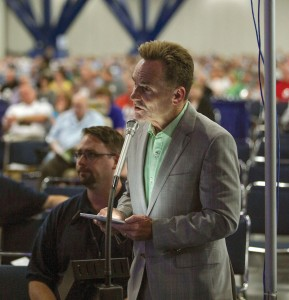 Ronnie Floyd, senior pastor of Cross Church in Springdale, Arkansas, spoke to his earlier motion regarding mental health during the afternoon session on the first day of the 2013 Southern Baptist Convention annual meeting in Houston. File photo by Matt Miller