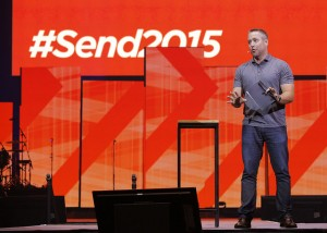 """J.D. Greear, pastor of Summit Church in Raleigh, N.C., was the keynote speaker for the opening session of the 2015 Send North America Conference. """"Jesus' promises about the greatness of the church were always tied to sending. He always focused on leaders being raised up and sent out, not an audience being gathered in and counted,"""" Greear said. NAMB photo by John Swain"""