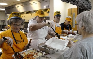 Florida Southern Baptist Disaster Relief feeding team volunteers serve dinner at Old Fort Baptist Church in Summerville, S.C., in response to massive flooding in the area. From left: Linda Wells, a member of First Baptist Church of Chipley, Fla., Diane Raneri, a member of Old Fort Church, Summerville, S.C., Bob Drury a member of First Baptist Church of Wewahitchka, Fla., and Jan Everett a member of First Baptist Church Lynn Haven, Fla. NAMB photo by Laura Sikes