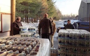 Volunteers from Westside Baptist Church near Flint, Mich., distribute bottled water after the city's contaminated water supply left residents vulnerable to increased exposure to lead. Photo courtesy Westside Baptist Church