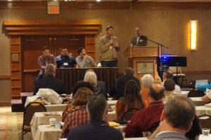 Iowa Church Planting Panel (Left to Right): Andy Norris, Cottage Grove Church, Des Moines; Cody Hinton, Paragon Church, Grinnell; Cole Deike, Frontier Church, Des Moines; and Noel Gandy, Christ Point Baptist Church, Shenandoah; with BCI Exec Tim Lubinus