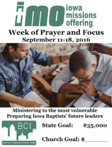 Iowa Missions Offering 2016 | Baptist Convention of Iowa